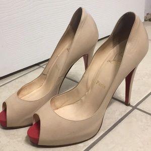 Christian Louboutin tan peep toe heels